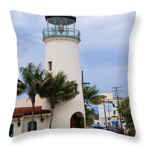 California Throw Pillow featuring the photograph Lighthouse In Santa Barbara Street by Brenda Kean