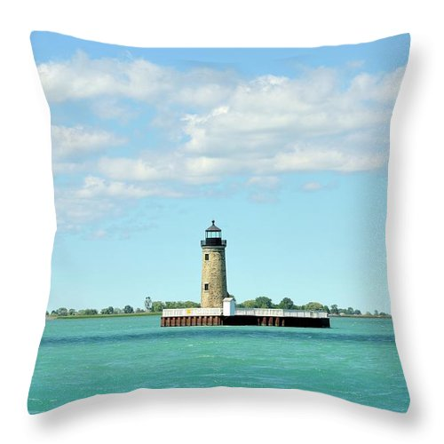 Scenics Throw Pillow featuring the photograph Lighthouse Lake St. Clair by Rivernorthphotography