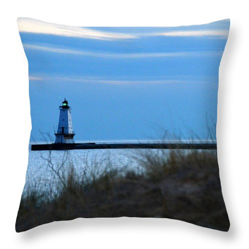 Ludington Throw Pillow featuring the photograph Lighthouse Lit by Linda Kerkau