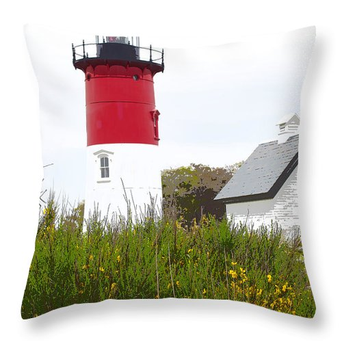 Nauset Light Throw Pillow featuring the photograph Lighthouse Of Memories by Michelle Constantine