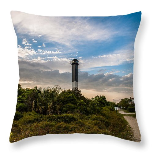 Sullivan's Island Lighthouse Throw Pillow featuring the photograph Lighthouse Pathway by Dale Powell