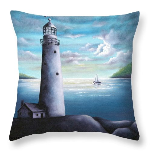 Oil Throw Pillow featuring the painting Lighthouse by Ruth Bares