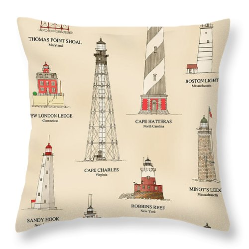 Lighthouse Throw Pillow featuring the drawing Lighthouses Of The East Coast by Jerry McElroy