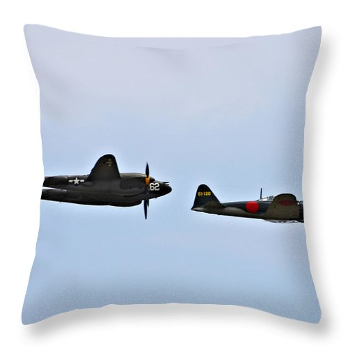 Lockheed P38 Lighting Throw Pillow featuring the photograph Lighting And The Zero by Tommy Anderson