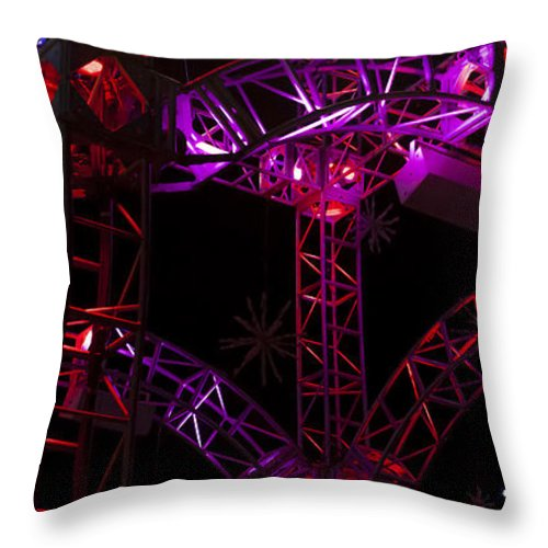 Winter Scene Throw Pillow featuring the photograph Lighting At Conagra Skating Rink by Edward Peterson