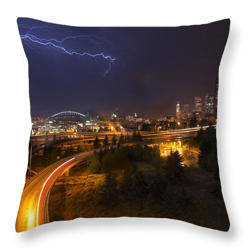 Seattle Throw Pillow featuring the photograph Lightning In Seattle by Quynh Ton