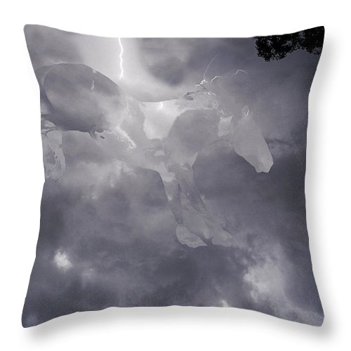 Horse Wild Mustang Lightning Sky Storm Clouds Emotion Tree Rain Original On Canvas Throw Pillow featuring the photograph Lightning Storm Mustang by Andrea Lawrence