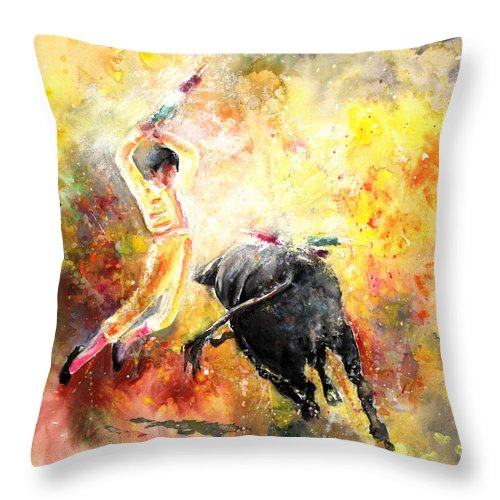 Animals Throw Pillow featuring the painting Lightning Strikes by Miki De Goodaboom