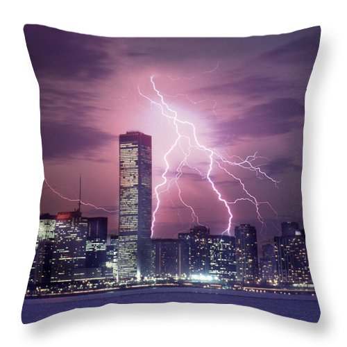 Scenics Throw Pillow featuring the photograph Lightning Striking Chicago Skyline by Lyle Leduc