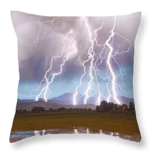 Lightning Throw Pillow featuring the photograph Lightning Striking Longs Peak Foothills 4c by James BO Insogna