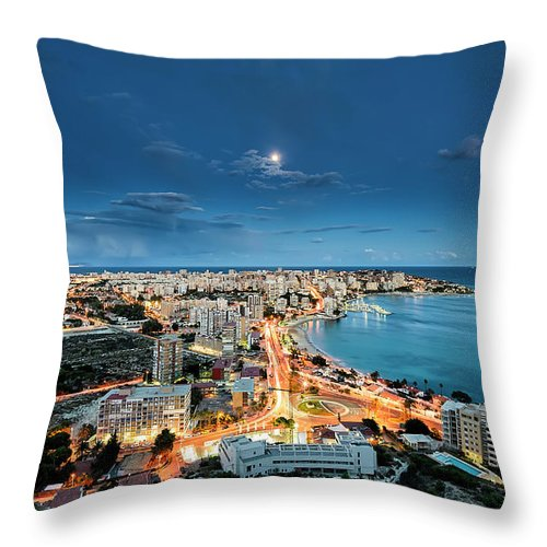 Built Structure Throw Pillow featuring the photograph Lights In The City by Photographer Of The World