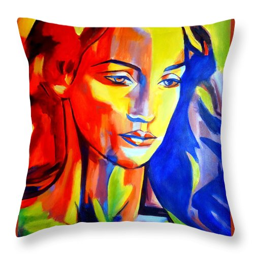 Contemporary Art Throw Pillow featuring the painting Like A Madonna by Helena Wierzbicki