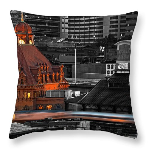 Amtrak Throw Pillow featuring the photograph Like A Speeding Bullet by Tim Wilson