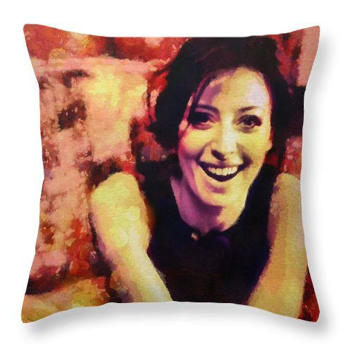 Portraits Throw Pillow featuring the painting Lil Ms Proper by Janice MacLellan