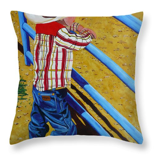 Cowboy Throw Pillow featuring the painting Lil Wrangler by Anthony Dunphy