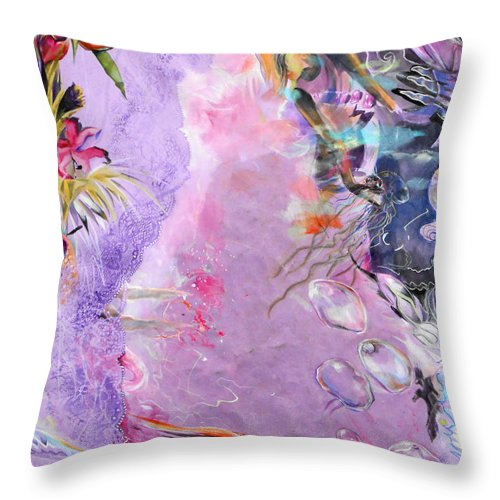 Lilac Goldfish Throw Pillow featuring the painting Lilac Goldfish by Lucia Hoogervorst