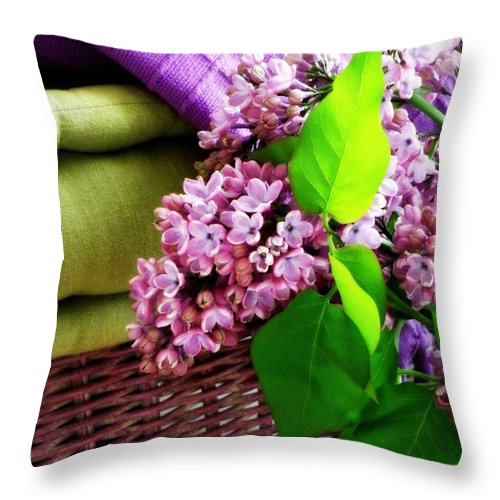 Lilac Throw Pillow featuring the photograph Lilac Still Life by Lainie Wrightson