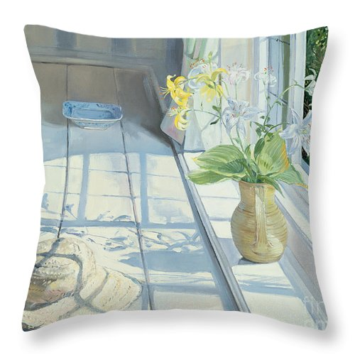 Window Throw Pillow featuring the painting Lilies And A Straw Hat by Timothy Easton