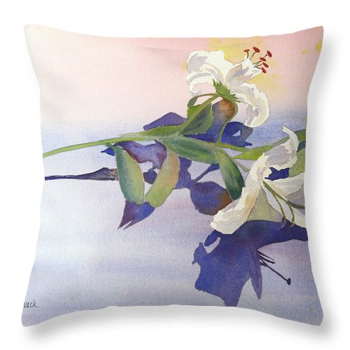 Lily Throw Pillow featuring the painting Lilies At Rest by Patricia Novack