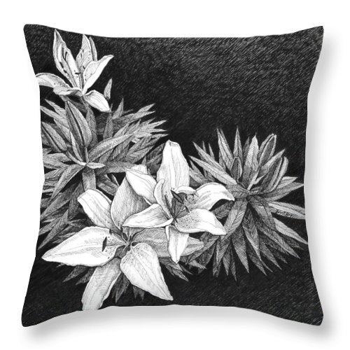 Lilies Throw Pillow featuring the drawing Lilies In Pen And Ink by Janet King