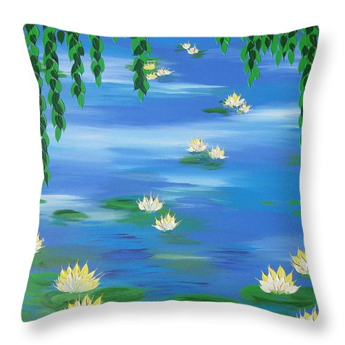 Lillies Throw Pillow featuring the painting Lillies 1 by Cathy Jacobs