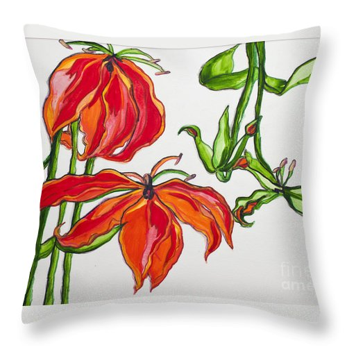 Watercolor Throw Pillow featuring the painting Lilies In Orange by Rebecca Weeks Howard