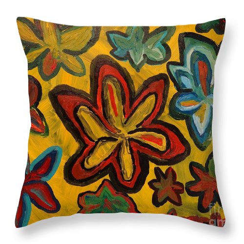 Artwork Throw Pillow featuring the painting Lillies In Space by Douglas W Warawa