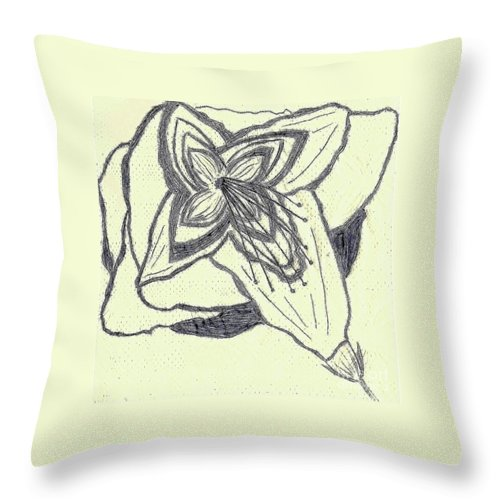 Southern Throw Pillow featuring the drawing Lilly Artistic Doodling Drawing by Joseph Baril
