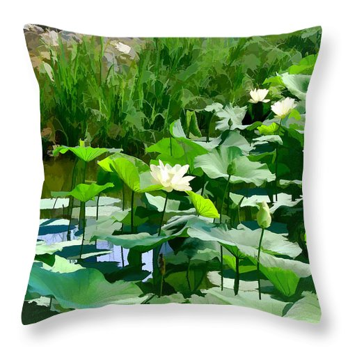 Lilly Pads Throw Pillow featuring the photograph Lilly Pads by Bonnie Willis