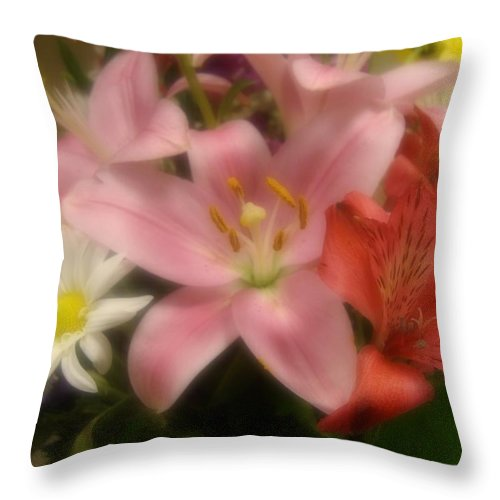 Lily Throw Pillow featuring the photograph Lily And Friends by Annie Adkins