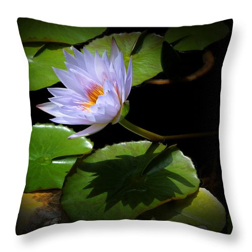 Flower Throw Pillow featuring the photograph Lily And Shadow by John Cardamone