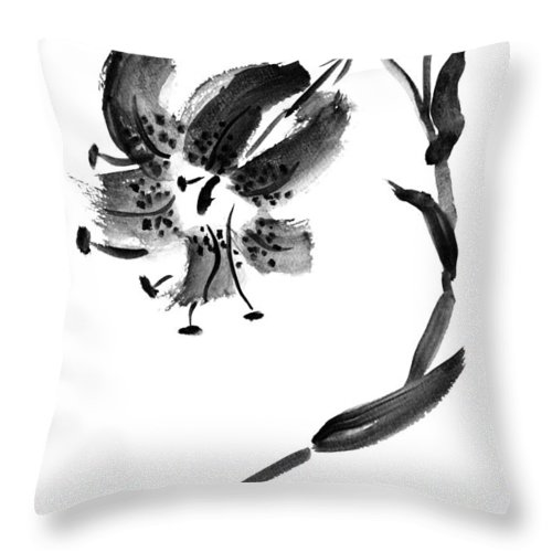Lily Throw Pillow featuring the painting Lily In Black by Patricia Novack