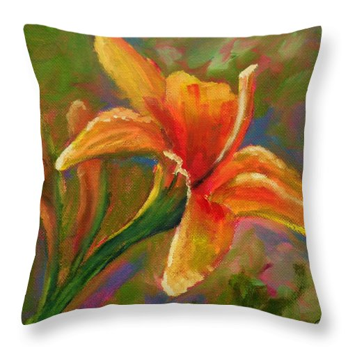 Flower Throw Pillow featuring the painting Lily by Liesbeth Verboven