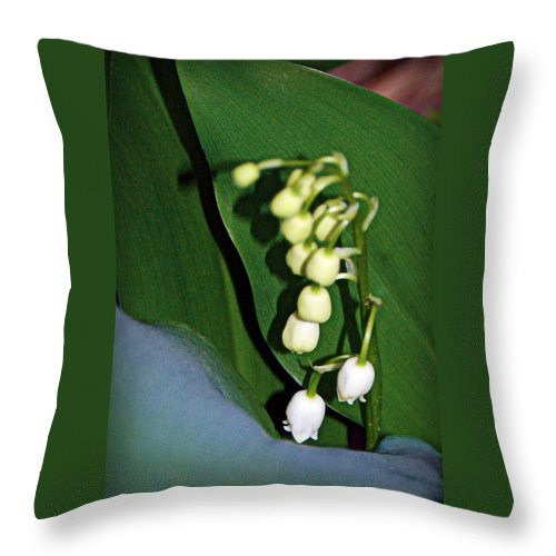 lily Of The Valley Blooms Throw Pillow featuring the photograph Lily Of The Valley by Cricket Hackmann
