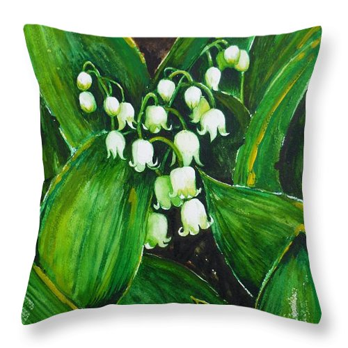 Lily Of The Valley Throw Pillow featuring the painting Lily Of The Valley by Zaira Dzhaubaeva