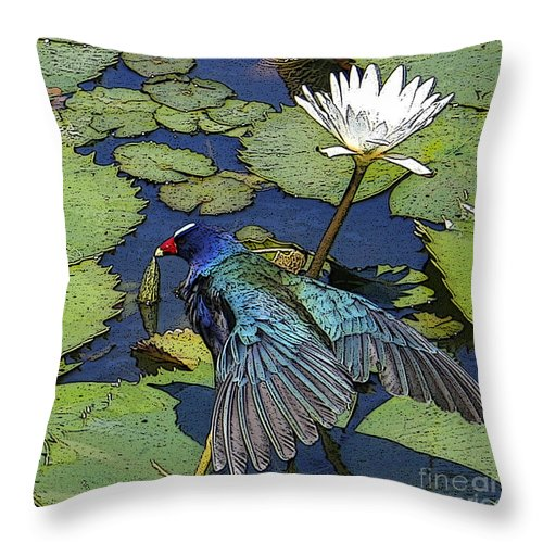 #lily #exoticbird #puntacana #dominicanrepublic #nature Throw Pillow featuring the digital art Lily Pad With Bird by Jacquelinemari
