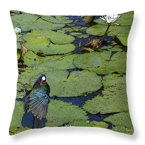 #lily #exoticbird #puntacana #dominicanrepublic #nature Throw Pillow featuring the digital art Lily Pad With Bird2 by Jacquelinemari
