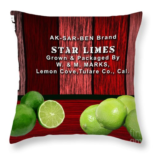 Lime Throw Pillow featuring the mixed media Lime Farm by Marvin Blaine
