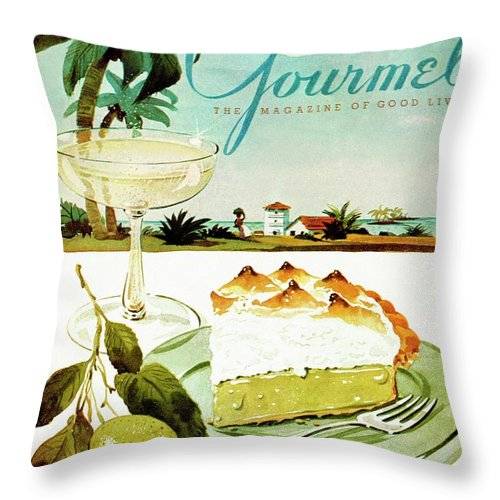 Food Throw Pillow featuring the photograph Lime Meringue Pie With Champagne by Henry Stahlhut