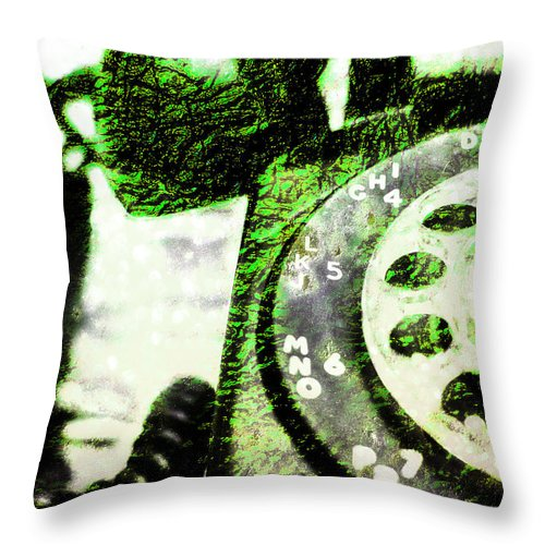 Rotary Throw Pillow featuring the photograph Lime Rotary Phone by Jon Woodhams