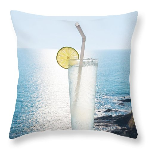 Alcohol Throw Pillow featuring the photograph Lime Soda by Atiketta Sangasaeng