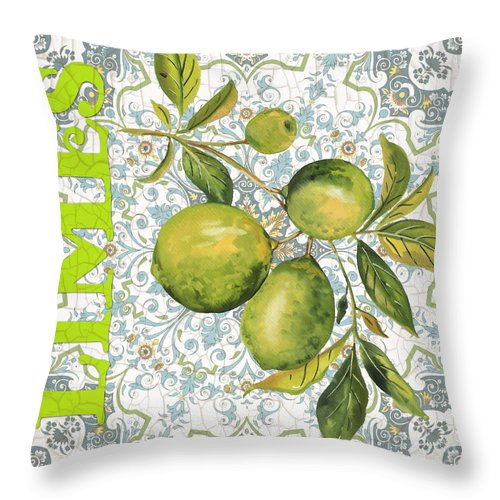 Painting Throw Pillow featuring the painting Limes On Damask by Jean Plout