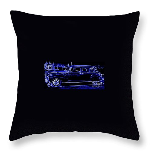 Lincoln Throw Pillow featuring the digital art Lincoln In Neon by Bobbee Rickard