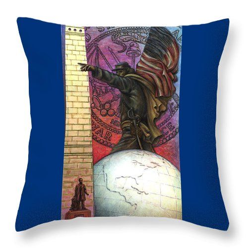 Veterans Throw Pillow featuring the painting Lincoln Monuments Street Banners Civil War Flag Bearer by Jane Bucci
