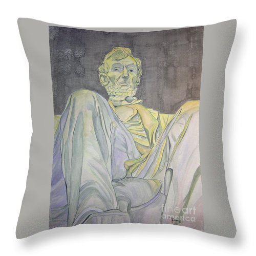 Presidents Throw Pillow featuring the painting Lincoln by Regan J Smith