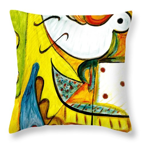 Abstract Art Throw Pillow featuring the painting Linda Paloma by Stephen Lucas