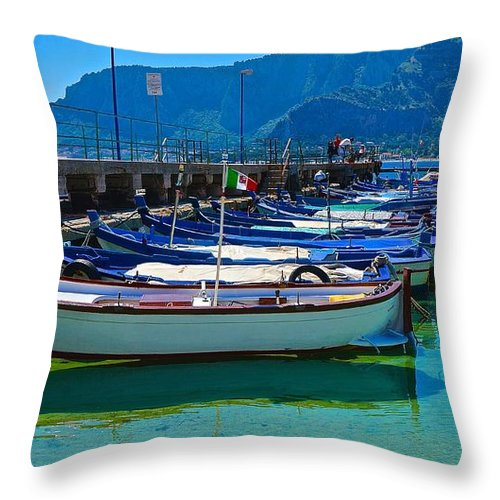 Travel Throw Pillow featuring the photograph Lined Up Fleet In Sicily by Tim G Ross