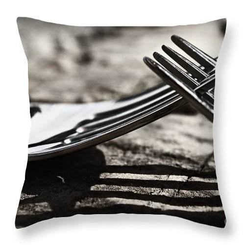 Forks Throw Pillow featuring the photograph Lines And Shadows by Clare Bevan