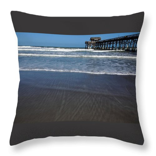 Cocoa Beach Pier Throw Pillow featuring the photograph Lines In The Sand by Debbie Oppermann