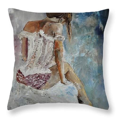 Lingerie Throw Pillow featuring the painting Lingerie 56414 by Pol Ledent
